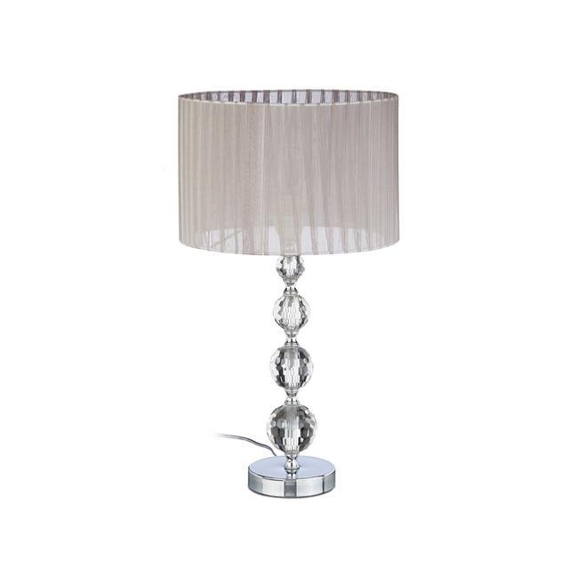 10022849 Lampada da Comodino in Cristallo da Tavolo a Sfere Paralume HLP 41 x 295 x 295 cm Chiaraargento