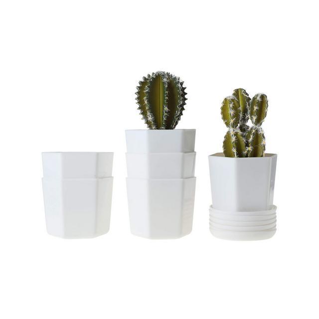10CM Vasi per Piante in Plastica Vaso da Vivaio con Piattino Bianca Set di 6 Piccoli Vasetti per Piante Grasse Pentole Succulente Cactus Erba Resi Interno Decorazione per Casa e Ufficio