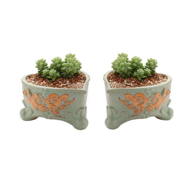 11CM Vasi in Ceramica per Succulente Piante con Vassoio Set di 2 Piccoli Vaso per Cacti Erba Piante Grass Tondo Vasetti da Interno