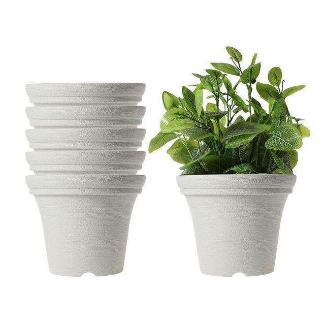 15CM Vasi per Fioriere in Plastica Succulente Vasi di Fiori di Piccola Pianta Contenitori di Cactus per Regalo per la Decorazione Desktop da UfficioGrigio Pacchetto di 6