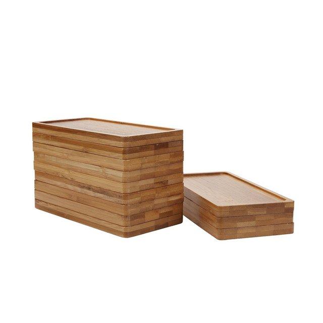 17CM bambù Vassoio Rettangolare in bambù Beige Sabbioso Set di 12