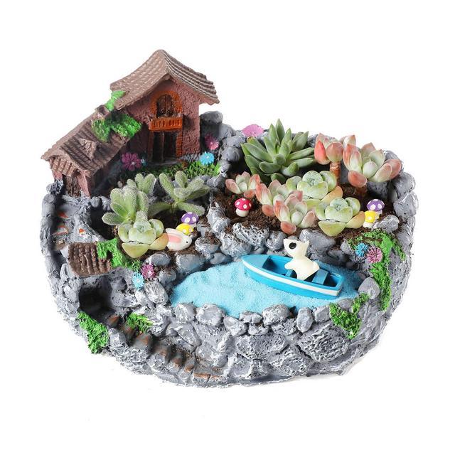 23CM Resi Country Landscape Style Casa & Campi Resi Vaso di Fiori Pianta Succulente Cactus Vaso di Fiori Giardino i vasi di Fiori vasi di Piante