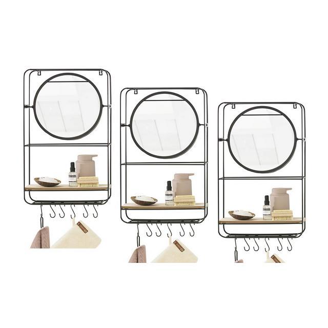 3 Mensole da Muro con Specchio e Ganci Design Vintage Legno e Metallo per Salotto Bagno corridoio Ingresso