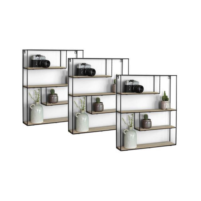 3X Mensole da Muro Cubica 3 Mensole da Muro Design Soggiorno Mensola da Parete con 4 Ripiani salvaspazio cucina e Camera da Letto Librerie Moderne Design a Parete