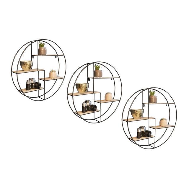 3X Mensole da Muro Rotonda 2 Mensole da Muro Design Soggiorno 2 Mensola da Parete con 4 Ripiani salvaspazio cucina Libreria Tonda da Parete