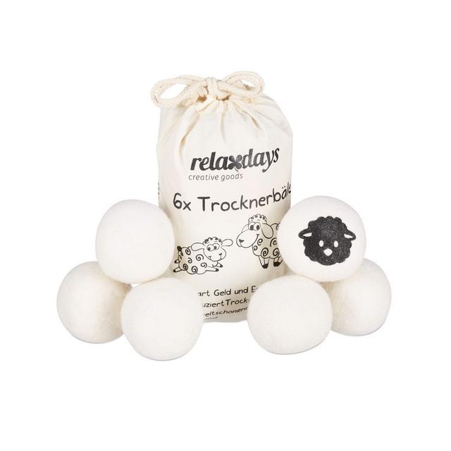 6 Palline XXL per Asciugatrice Ecologiche Wool Bianco  7 cm