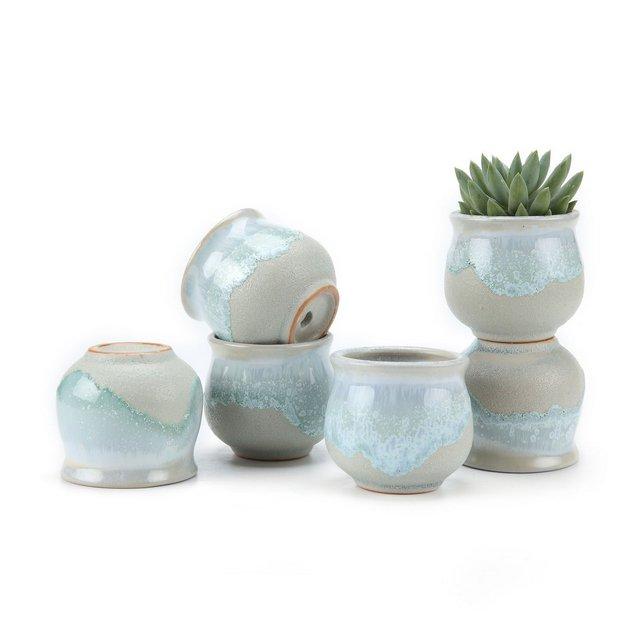 65CM Set of 6 Flowing Smalto Ceramica Vaso di Fiori Pianta Succulente Cactus Vaso di Fiorigiardino i vasi di Fiori vasi di Piante