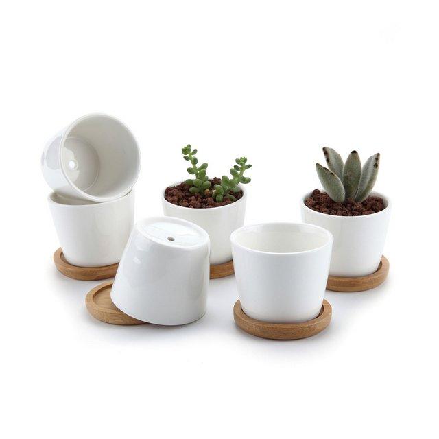 65CM Set of 6 Rotondo Sucuulent Erba Vaso con bambù VassoioCeramica Vaso di Fiori Pianta con Vassoio di bambù Succulente Cactus Vaso di Fiori Giardino i vasi di Fiori vasi di Piante