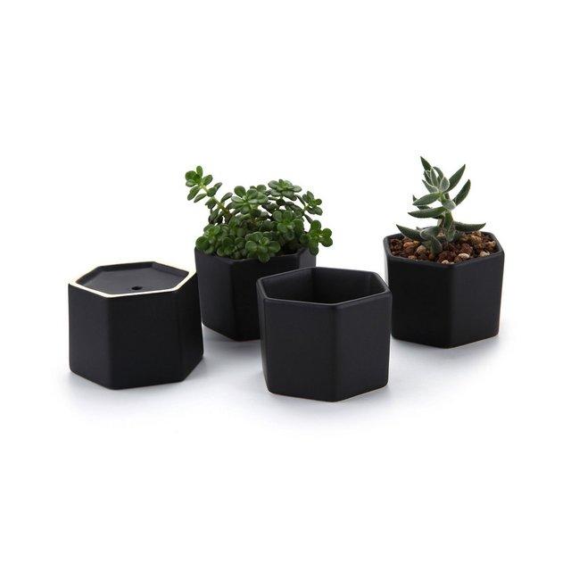 72CM Set of 4 Esagono Lucida SUPERFICIECeramica Vaso di Fiori Pianta Succulente Cactus Vaso di Fiori Giardino i vasi di Fiori vasi di Piante
