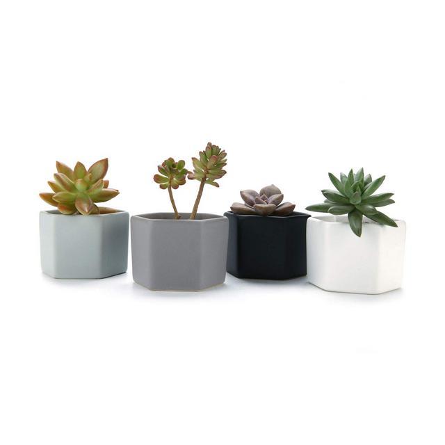 72CM Set of 4 Esagono Lucida Superficie Ceramica Vaso di Fiori Pianta Succulente Cactus Vaso di Fiori Giardino i vasi di Fiori vasi di Piante