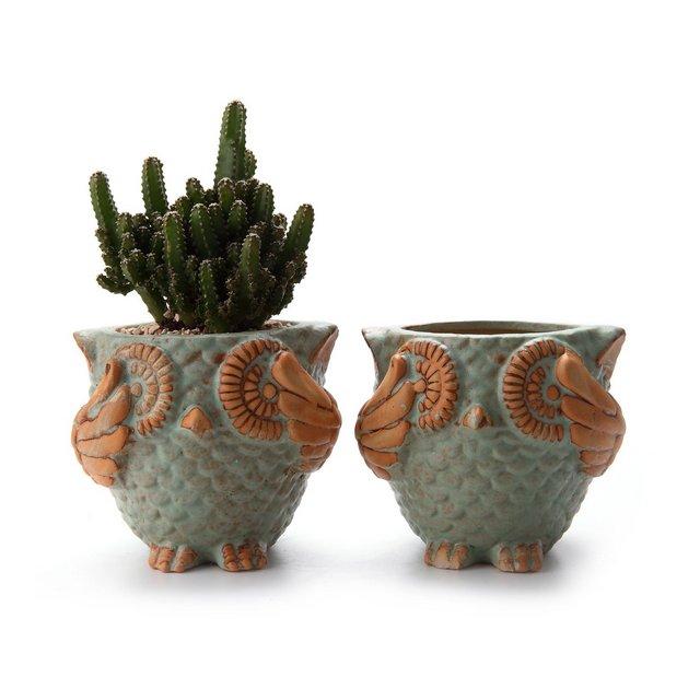 75CM Gufo Ceramica Vasi per Piante Succulente Fioriera di Cactus Set di 2