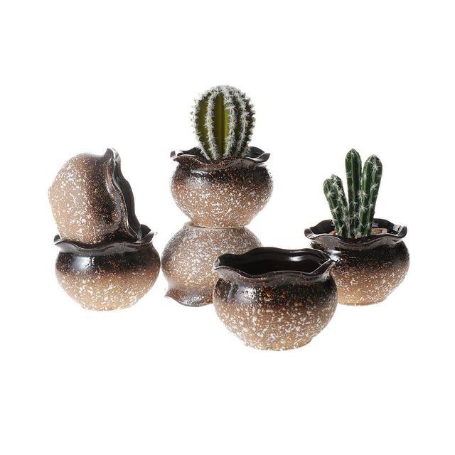 7CM Vasi in Ceramica per Succulente Piante con Vassoio Set di 6 Piccoli Vaso per Cacti Erba Piante Grass Tondo Vasetti da Interno