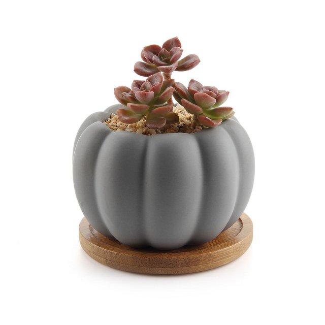 85CM Ceramica Moderno Zucca Design Succulento VasoCactus Vasi di Fiori Contenitore Porta Porcella Piante con Vassoio di bambù Matte Grigio