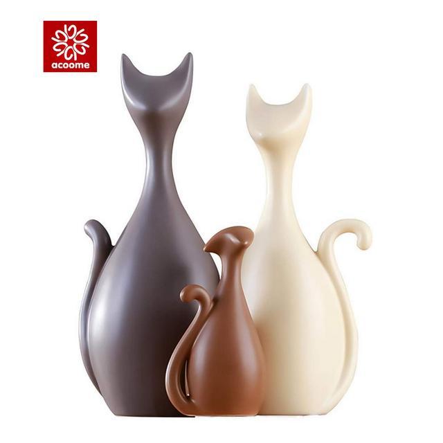 ACOOME Set di 3 Pezzi Soprammobile Gatto in Ceramica della Famiglia Stile Moderno e Creativo Elementi Gatti di Porcella Decorativo Regalo