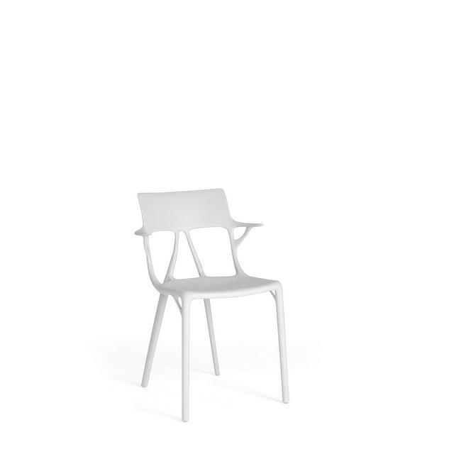 AI Sedia Design Moderno con Braccioli Set 2 Pezzi H 80 x L 55 cm Bianco