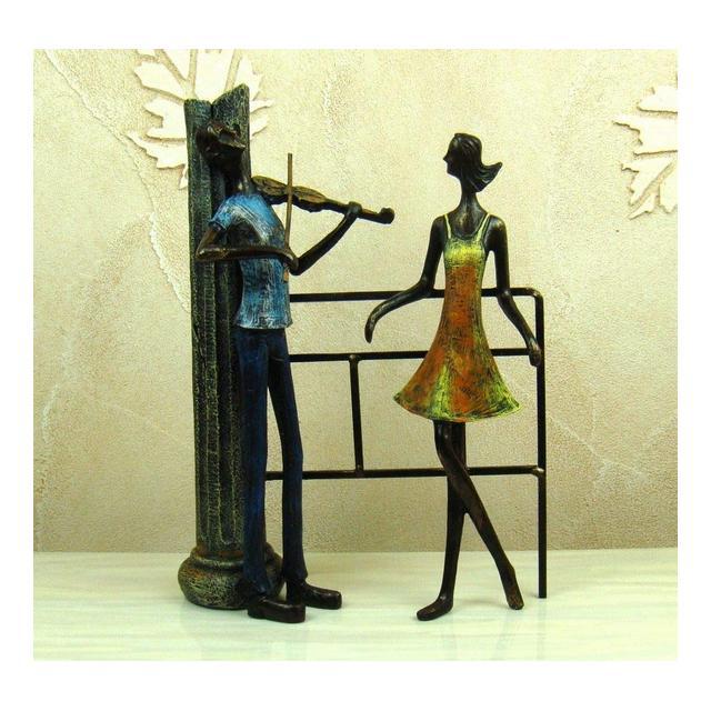 AXIANNV Statua Amanti della proposta di Arte in Ferro battuto retrò Figurine Resi astrattiva Coppia Vintage Statua Decor Souvenir Regalo e Artigiato OrmentoMulticoloreM