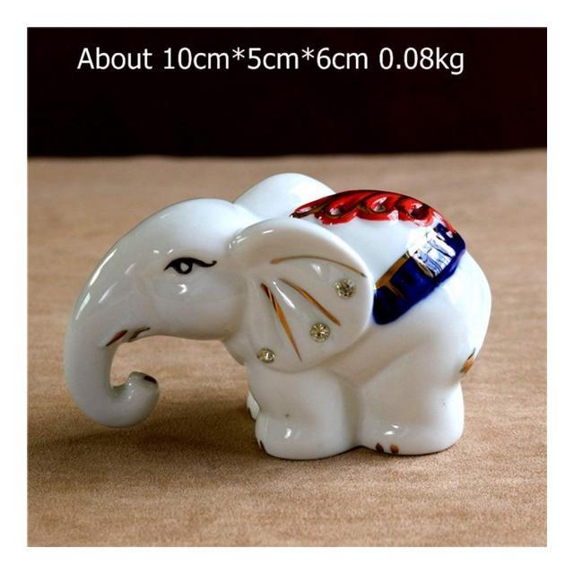 AXIANNV Statua Elefante in Porcella di Giada Miniatura in Ceramica Vuota Diamante di Cristallo Elefante Figurine Ormento Decorazione Arte e Artigiato Accessori in Stile Em