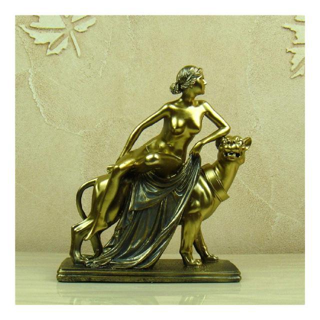 AXIANNV Statua Goddess On Panther Statuette Resi Fatta a Mano Nudo Femminile Carattere Scultura Decorazione Arte e Artigiato OrmentoOroM