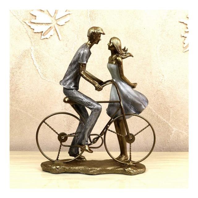 AXIANNV Statua Honey Bike Lovers Figurine Cucciolo Fatto a Mano Amore Fidanzamento Coppia Statua Decorazione di San Valentino Regalo di Nozze Artigiato OrmentoMulticoloreM
