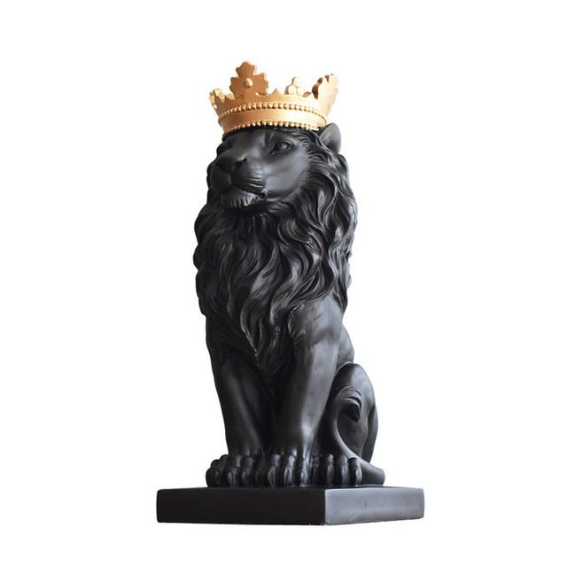 AXIANNV Statua Lion Sculpture Resin Lion King Statue Home Animale Mascotte Costellazione Decor Arte e Artigiato OrmentoNeroM