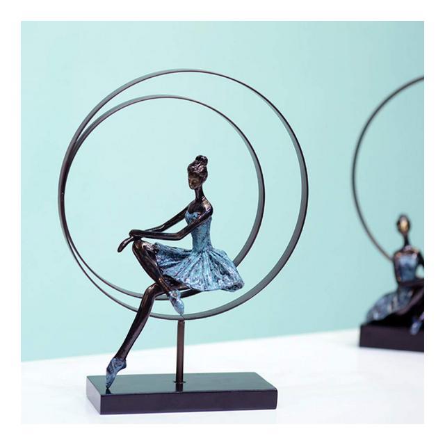AXIANNV Statua Scultura Astratta per Balletto Ragazza in Ferro battuto Fatto a Mano e Resi Balleri Statuetta Decorazione Souvenir Ormento Artigiato RegaloMulticoloreM