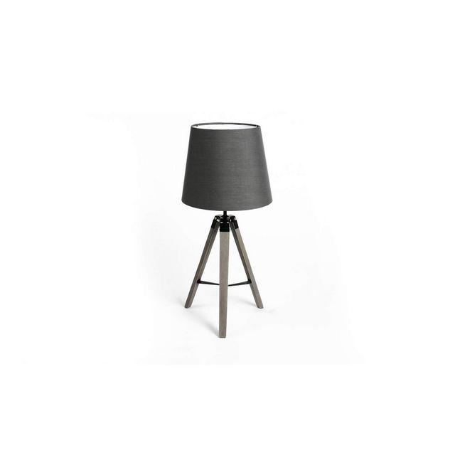 Abat Jour da comodino Lampada treppiede da tavolo design vintage Paralume in tela grigio scuro Per camera da letto soggiorno cucina 58 cm