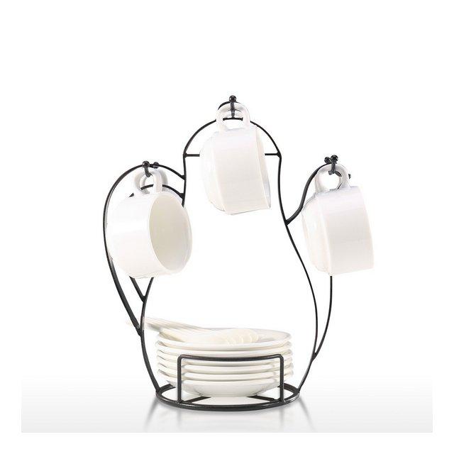 Albero porta tazze Supporto per albero da caffè a forma di tazzi da appoggio per bancone o dispensa Supporto per albero in filo metallico vintage per bicchieri e tazze da caffè