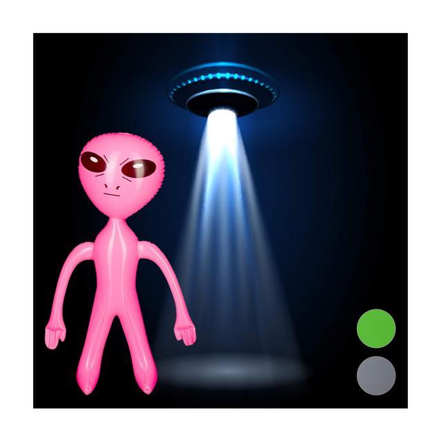 Alieno Gonfiabile Marziano Accessorio Deco per Feste a Tema Giocattolo da Pisci Rosa PVC Pink 6100 x 3500 x 1400cm