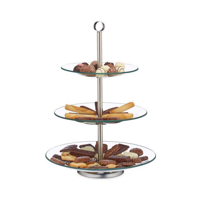 Alzata a 3 Piani cucina per Frutta Biscotti & Cupcake da Tavola Vetro Acciaio Inox ArgentoTrasparente