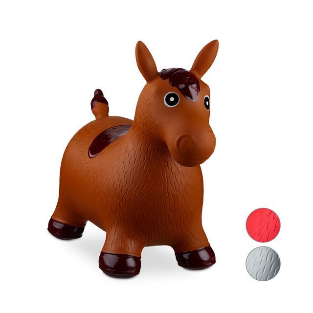 Animale Cavalcabile Cavallo Giochi Gonfiabili per Bambini BPAfree Fino a 50 kg Pompa Inclusa Marrone
