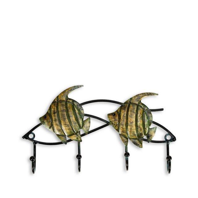 Appendiabiti da parete in ferroFish Wall Hook Set di 4 ganci appendiabiti decorativi Viti per il montaggio incluso