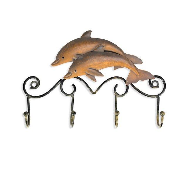 Appendiabiti da parete in ferroIron Dolphin Wall Hooks Viti per rack appendiabiti in ferro con finitura anticata incluso Wall Mounted