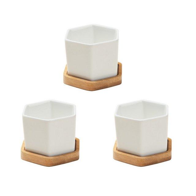 BESTOMZ 3 Set di piccoli contenitori esagoli in ceramica bianca Contenitori succulente in ceramica con vaso di bambù