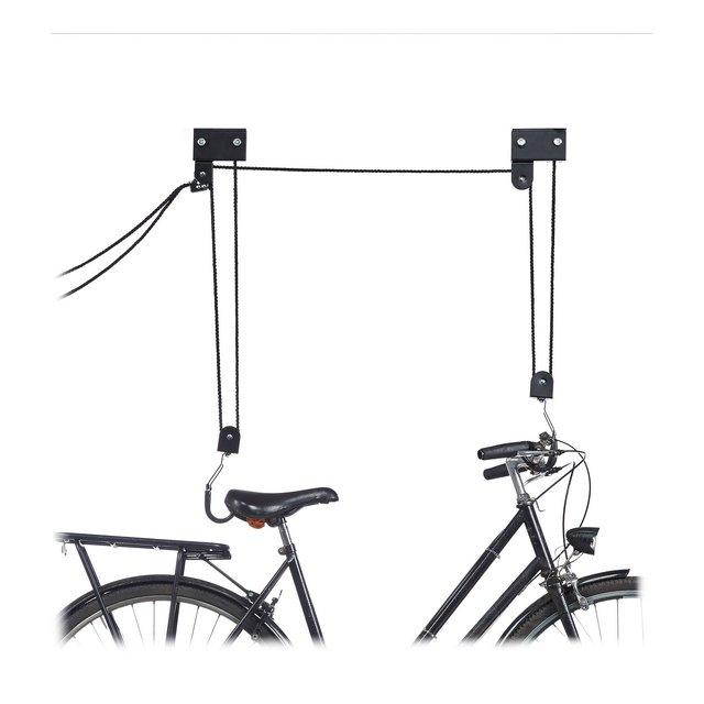 Barra da soffitto per Bicicletta 45 kg con Ganci Universale con Freno a Corda cordicella Kayak Sollevamento Bicicletta Nero