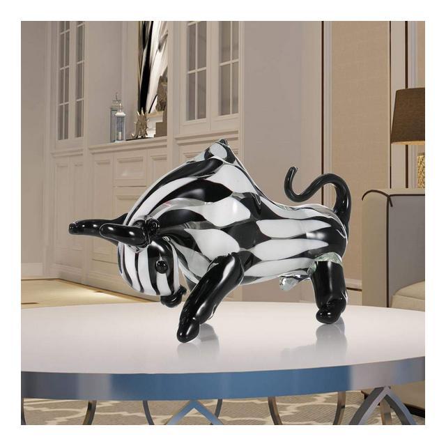 Black White Cattle Sculpture Glass Decorazioni per la casa Statua Ormento Animale Moderno Regalo Decorazione Artigiale Toro Scultura Craft i90