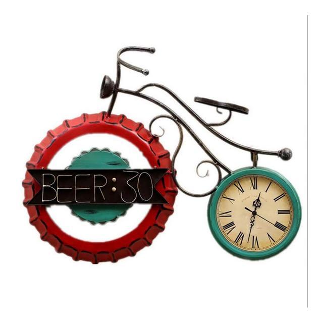 Bottiglia di Vino di Copertura Biciclette Orologio Decorativi retrò Casa Creativo Ferro Battuto Orologio da Parete Ciondolo Decorativo