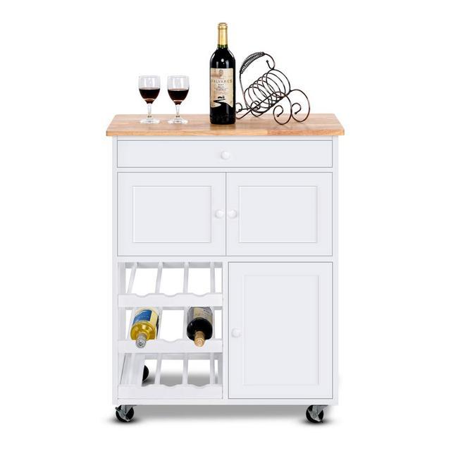 COSTWAY Carrello da cucina Carrello con Cassetto Portabottiglie Tre Ante in Pino e MDF Bianco