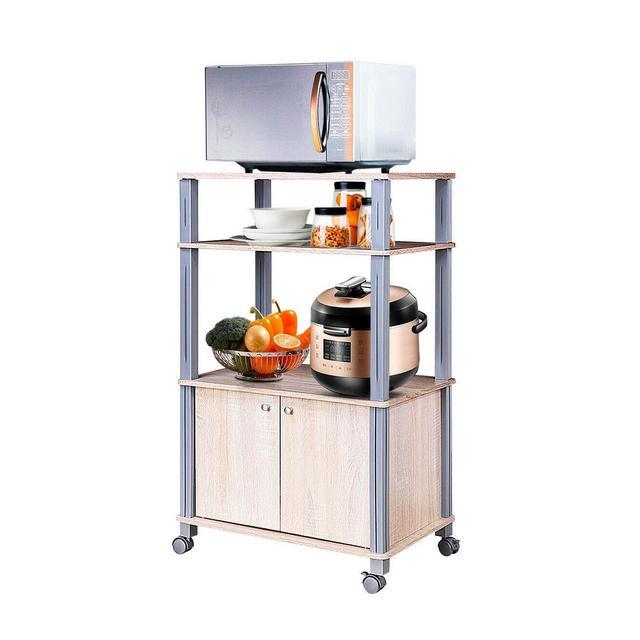 COSTWAY Scaffale da cucina per Microonde Carrello da cucina con Ruote e 2 Ante Multifunziole e Movimento Flessibile Legno