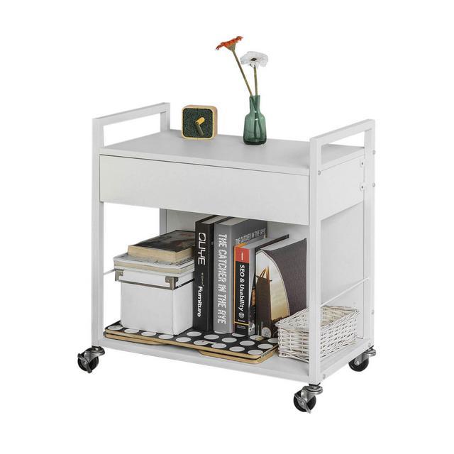 Carrello Estetista Porta Stampante con Cassetto Grande e Ruote con Freno L60*P33*A64 cm Bianco FKW50W