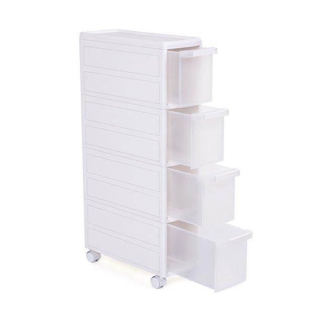 Carrello Stretto con 4 Cassetti Scaffale Salvaspazio da cucina o Bagno Scaffale Multiuso con Rotelle Altezza di 89 cm Bianco