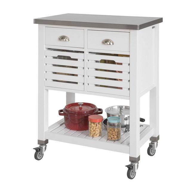 Carrello cucina Acciaio Mobile cucina salvaspazio con 2 cesti e 2 cassetti Bianco Piano in Acciaio