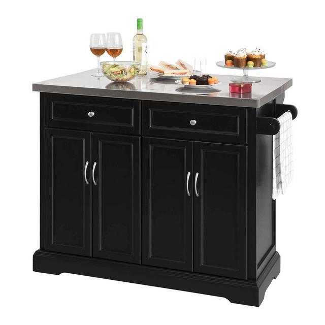 Carrello cucina Credenza Legno Piano Lavoro cucina Piano in Acciaio è allungabile FKW71SCH