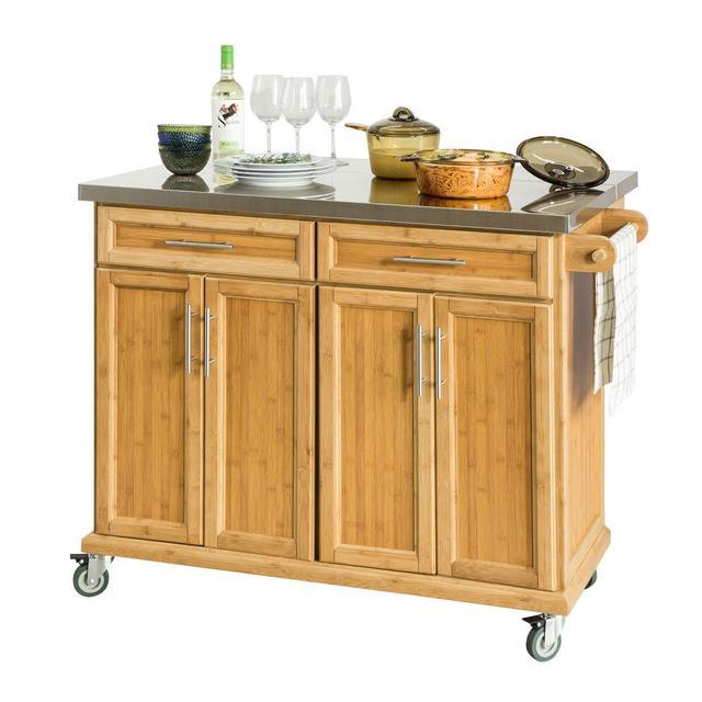 Carrello cucina Credenza Legno Piano Lavoro cucina Piano in Acciaio è allungabile