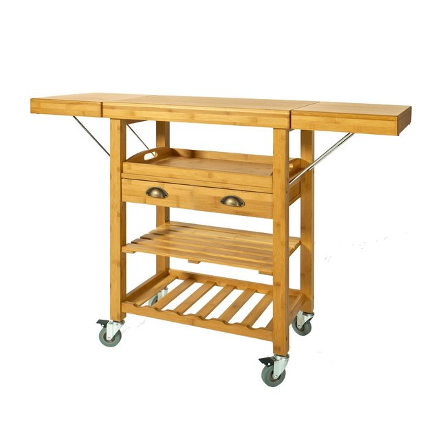 Carrello cucina di Bambù Carrello di servizi Tavolo da cucina FKW25Ntura92 * 40 * 6595125cmIT