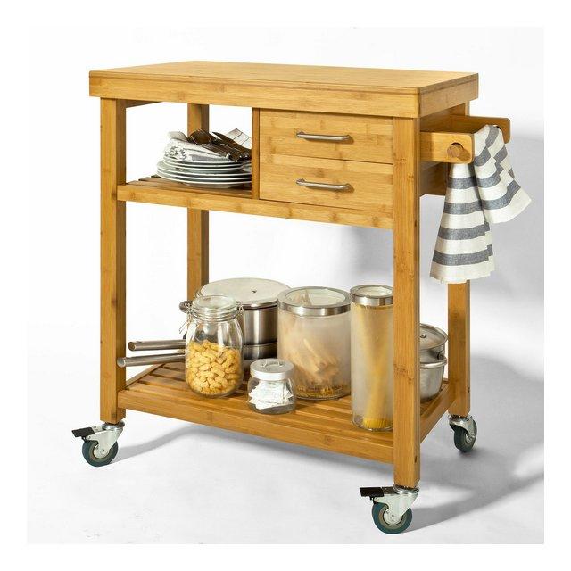 Carrello di servizio Carrello cucinana Scaffale da cucinain Bambù turale