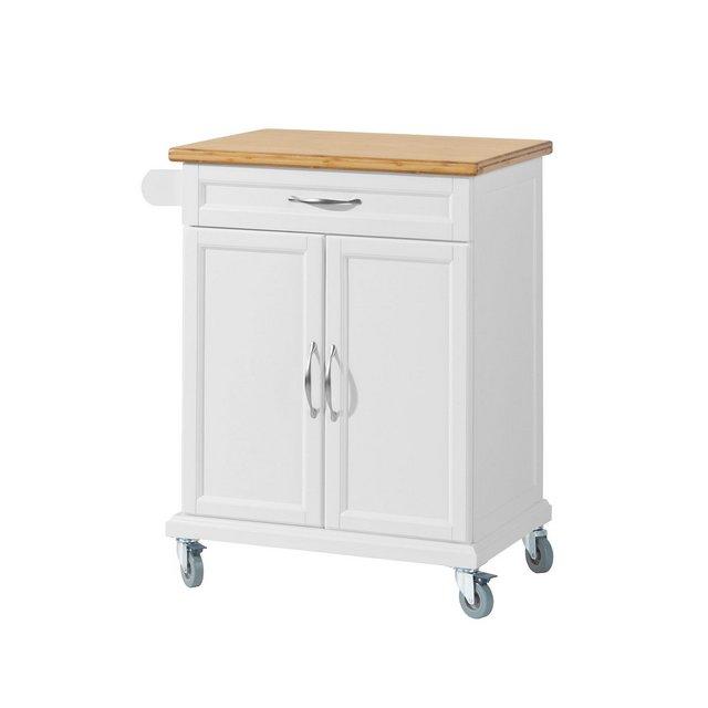 Carrello multiuso Scaffale da cucina credenza soggiorno con armadietto e casseto piano in legno massello di bambù bianco