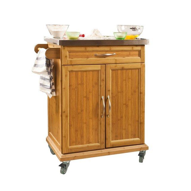 Carrello multiuso Scaffale da cucina credenza soggiorno con armadietto e cassetto piano in acciaio