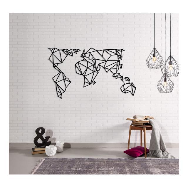 Carte du Monde Decorazione da Parete Mappamondo Grande Nero in Metallo Arte Casa Decoro per Soggiorno Ufficio Muro Planisfero