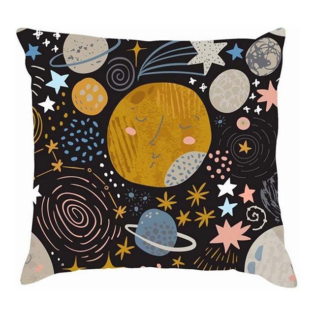 Cartoon Cosmic Cute Planets Mooncolor ture Cuscini per copriletto Fodere per Cuscini in Cotone e Lino Federe
