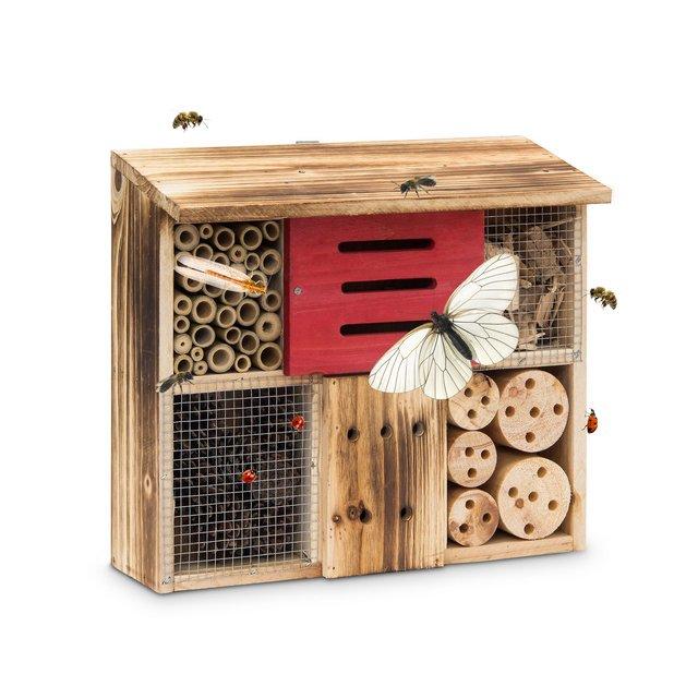 Casetta per Insetti Legno veto HLP 29 x 33 x 135 rifugio per coleotteri Hotel per api Tetto Piano Beige